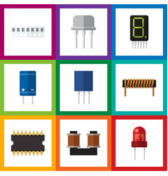 Flat icon device set of transistor coil copper vector