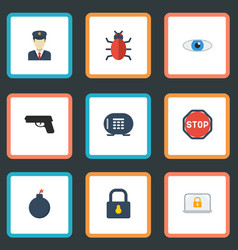 flat icons policeman explosive virus and other vector image