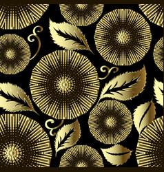 Floral gold mandalas 3d seamless pattern leafy vector