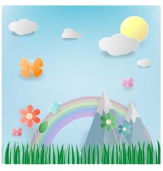 Floral summer paper art vector