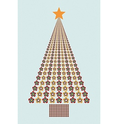 Flower colors Christmas tree vector image