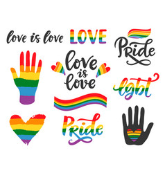 Gay hand written lettering poster lgbt concept vector