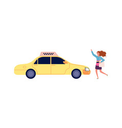 girl catches taxi happy cartoon female with bag vector image