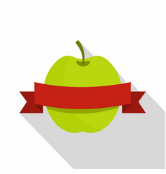 Green apple with red ribbon icon flat style vector