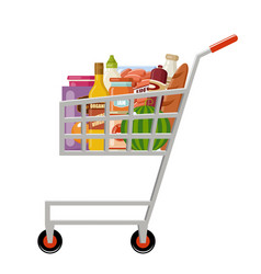 grocery shopping cart with products full vector image