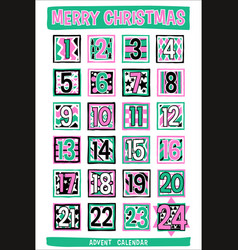 Hand-drawn cartoon advent calendar vector