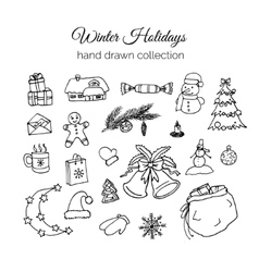 Hand Drawn Christmas Elements Set Winter Holidays vector image