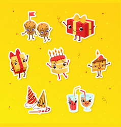 happy holidays cute stickers badges or patches vector image