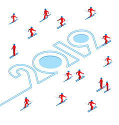 happy new year concept - winter sports vector image