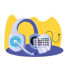 Headset audio communicator with keypad vector