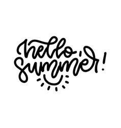 hello summer - linear lettering fun vector image