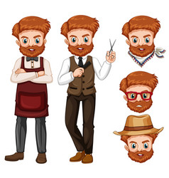 Hipster man with different face vector