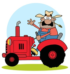 Hispanic Farmer Waving And Driving A Red Tractor vector image