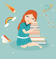 image of a dreaming girl with a pile of books vector image