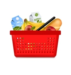 Isolated shopping basket with products vector