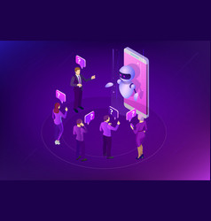 Isometric artificial intelligence chat bot and vector