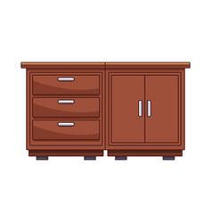 Kitchen wooden cabinet vector