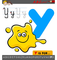 letter y with cartoon yellow color vector image