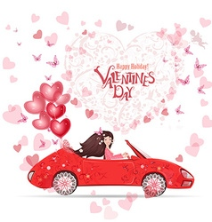 lovely girl in a car with red heart air balloons vector image