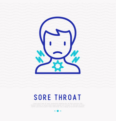man with sore throat thin line icon vector image