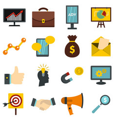 marketing items set flat icons vector image