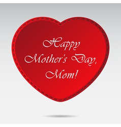 Mothers Day card with red heart vector image