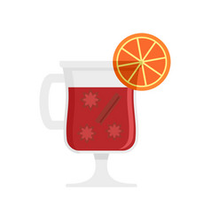 Mulled wine drink icon flat style vector