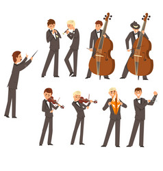 Musicians of symphonic orchestra and conductor vector