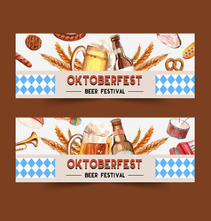 Oktoberfest banner design with beer sausage vector