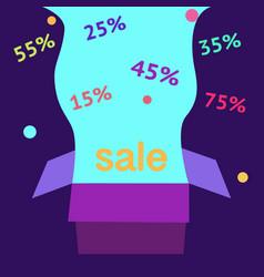 open purple gift box and confetti sale background vector image