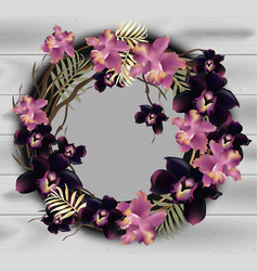 Orchid flowers wreath frame on wood background vector