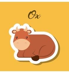 Ox animal sticker vector