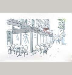 paris cafe outdoor sketch watercolor art vector image