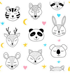 Pattern with sleepng animals vector
