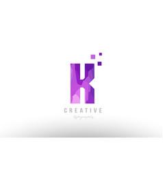 pink alphabet letter logo k with squares vector image