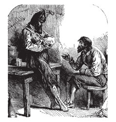 robinson talking with spaniard vintage vector image