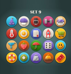 Round Bright Icons with Long Shadow Set 9 vector image