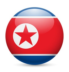 Round glossy icon of north korea vector
