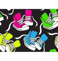 Seamless pattern with sneakers in different colors vector image