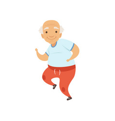 Senior man running in sports uniform grandmother vector