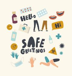 Set icons safe greeting theme alternative vector