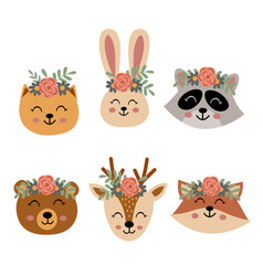 Set isolated cute animal faces with flowers vector