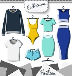 Set of colored clothes to create design on white vector image