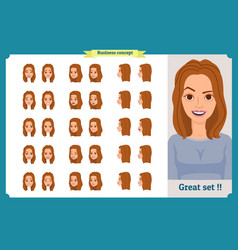Set of womans emotions design expression vector