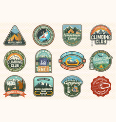 Set rock climbing club and summer camp badges vector