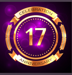 seventeen years anniversary celebration with vector image