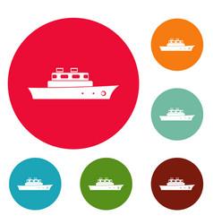 ship ocean icons circle set vector image