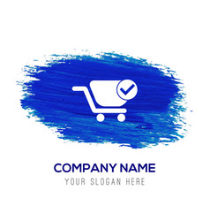 Shopping cart and plus sign - blue watercolor vector