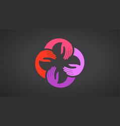 Teamwork hands logo template black vector