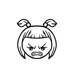 Thin line angry face icon vector
